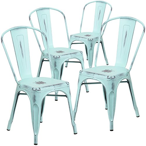 Flash Furniture 4 Pk. Distressed Green-Blue Metal Indoor-Outdoor Stackable Chair - 4-ET-3534-DB-GG