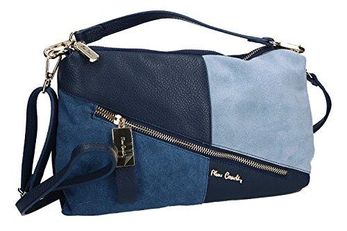 Tasche damen von Hand PIERRE CARDIN blau leder Made in Italy VN1114
