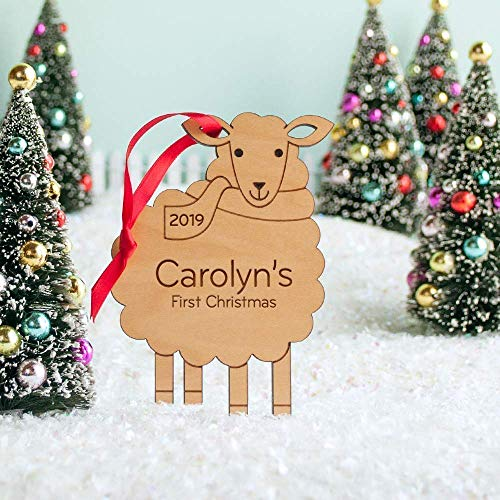 Personalized Wood Sheep Lamb Babys First Christmas Ornament 2019 Handmade from Graphic Spaces - It's a cute world after all.
