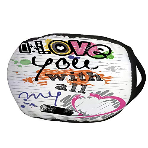 Fashion Cotton Antidust Face Mouth Mask,I Love You,I Love You with All My Heart Grunge Sketchy Notebook Style Childish Couples Decorative,Multicolor,for women & men