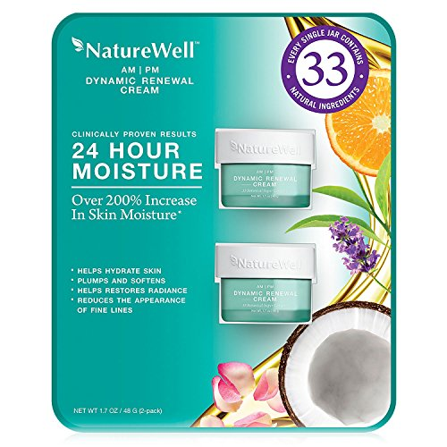 Renewal Cream (NatureWell AM/PM Dynamic Face and Neck Renewal Cream, 24 Hour Moisture- Clinically Proven Results to Hydrate Skin, Reduce Fine Lines, 1.7oz (2 Pack))