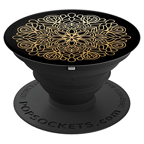 Chic Designer Black & Gold Mandala Flower Gift - PopSockets Grip and Stand for Phones and Tablets ()