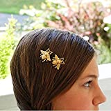 Skyvan 2PCS Girl Exquisite Gold Bee Hairpin Side Clip Hair Accessories