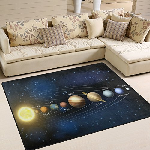 ALAZA Galaxy Universe Solar System Planet Area Rug Rugs for Living Room Bedroom 7' x 5' by ALAZA