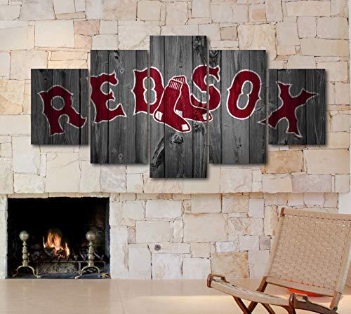 "5 Piece""Wood Look"" Canvas MLB Baseball Teams Art Decor Wall Poster (5 Piece Medium, Boston Red Sox)"