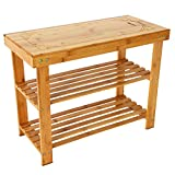 Annstory 3-Tier Bamboo Wood Shoe Rack Bench, Shoe Organizer,Storage Shelf Holds Up to 264 Lbs,ideal for Entryway Hallway Bathroom Living Room and Corridor