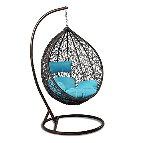 Island Porch Swing (Island Gale Hanging Basket Chair Outdoor Front Porch Furniture with Stand and Cushion (Brown Wicker, Turquoise Cushion))