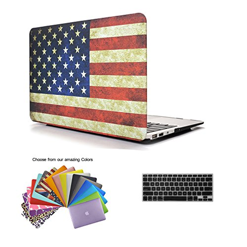 """MacBook Air 13 Case TECOOL® 2 in 1 Frosted Matte Snap-on hard Shell Plastic Case Cover Skins and Silicone Keyboard Cover with TECOOL® Mouse Pad for MacBook Air 13"""" Model: A1466 and A1369(US Flag)"""