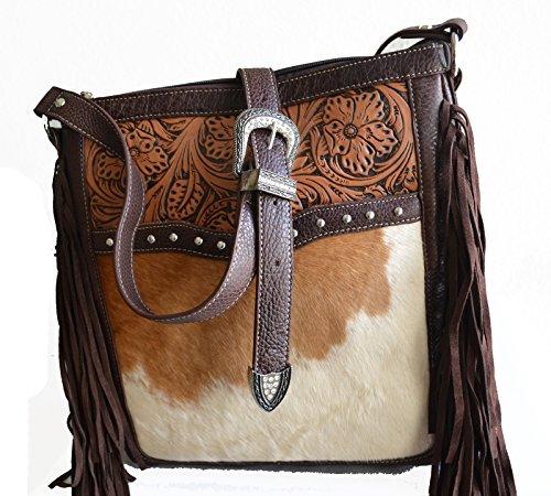 bag cowhide white cow body cross animal brown print purse shopper 8IqPdHAw