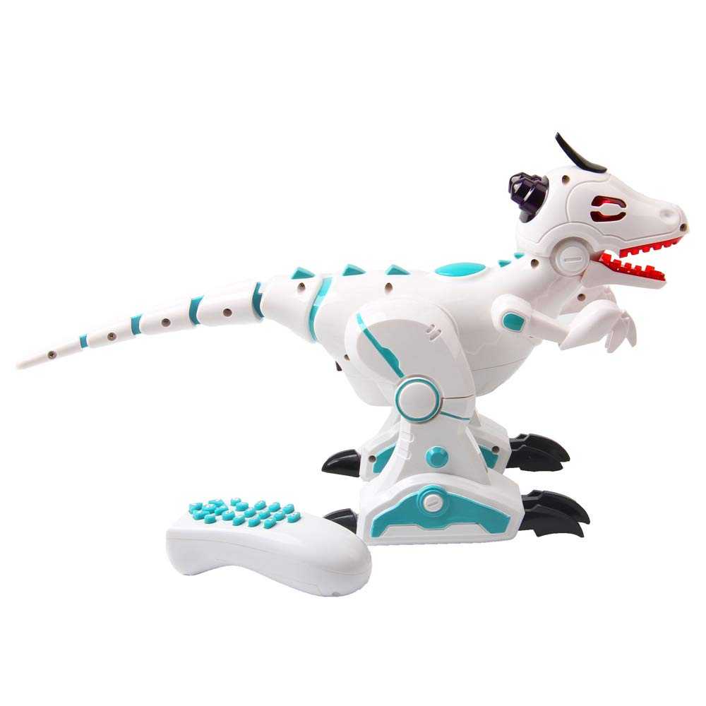 ERollDeep Dinosaur Toys Electric Walking Dinosaur with Flashing LED Lights & Realistic Sounds, Battery Operated Intelligent Dinosaur with Remote Control with Smoke Effect for Boys, White by ERollDeep (Image #2)