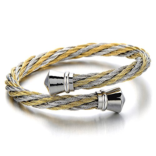 Mens Womens Stainless Steel Twisted Cable Cuff Bangle Bracelet Silver Gold Two-Tone Polished - Silver Tone Cable