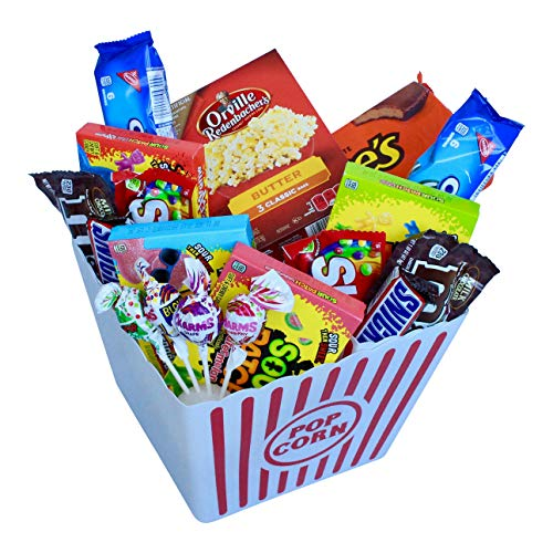 Deluxe Sweet Treats Movie Night Popcorn and Candy Gift Basket Includes Gourmet Butter Flavored Popcorn, Sour and Chewy Candy, Cookies and Chocolate