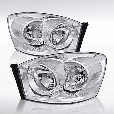 Autozensation For Dodge Ram Chrome OEM Style Headlights [w/o Amber Bar] LH+RH: Automotive
