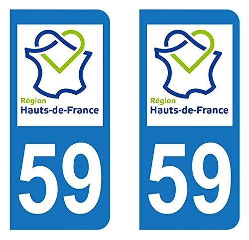 Paire Sticker Hauts-de-France 59 - Nord Autocollant-immatriculation