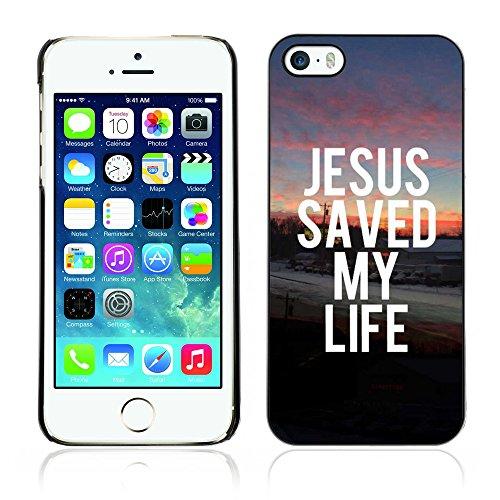 DREAMCASE Citation de Bible Coque de Protection Image Rigide Etui solide Housse T¨¦l¨¦phone Case Pour APPLE IPHONE 5 / 5S - JESUS SAVED MY LIFE