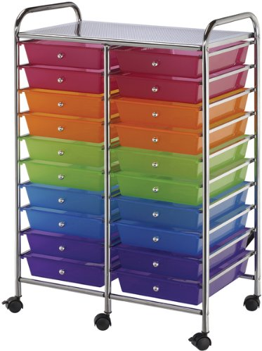 Double Storage Cart with 20 Drawers - Multicolor 1 pcs sku# 633677MA by Blue Hills Studio