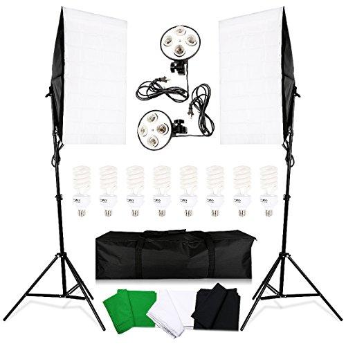 Konseen 소프트 박스 조명 키트 50x70 cm 스튜디오 플래시 조명 촬영 소프트박스 2 개 4 등 소켓 8 개 E27 45W 전구 2M 조정 가능한 조명 스탠드 휴대용 가방 포함