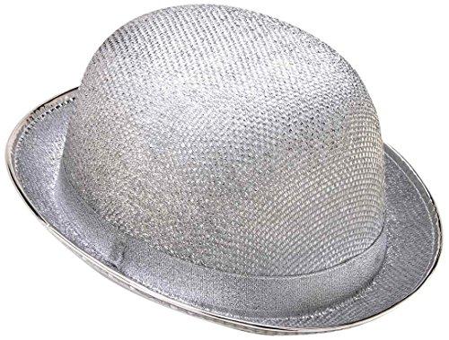 Forum Novelties Men's Glitter Mesh Adult Novelty Derby Hat, Silver, One Size
