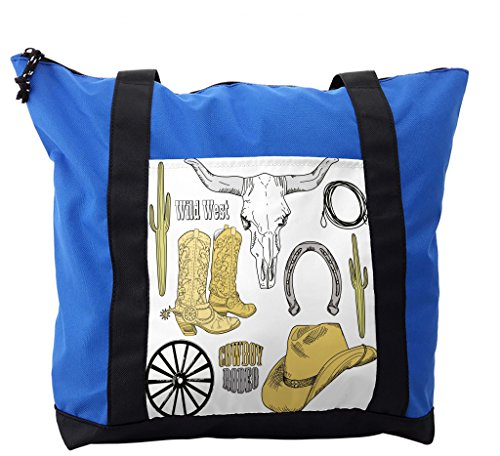 Girls Hats Shoes Purses - Lunarable Western Shoulder Bag, Skull Lasso Hat Horseshoe, Durable with Zipper