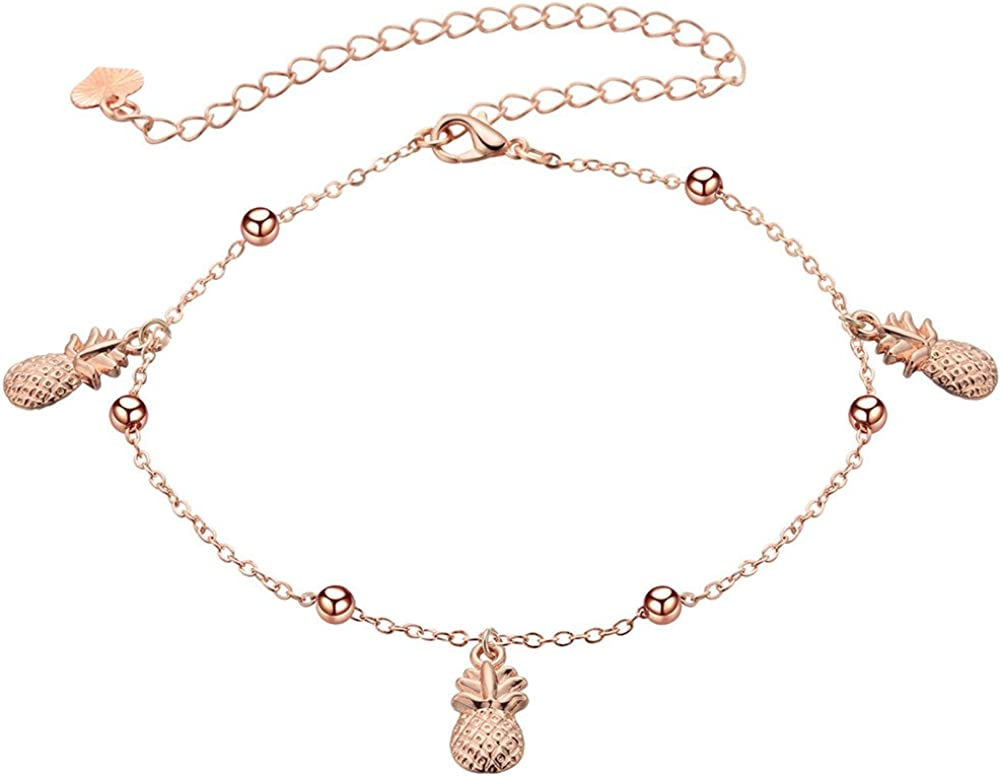 18K Gold Plated Rose gold Pineapple Charm With small balls Women adjustable anklet Bracelet,Lobster clasp