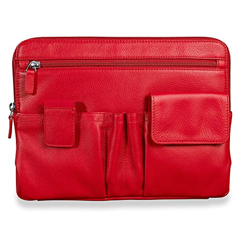 Levenger All Together Now Full-Grain Leather Electronics Tablet Case and Bag Organizer (AL13120 RD) by Levenger