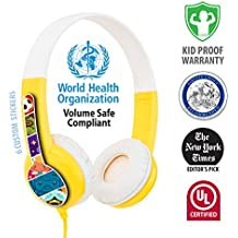 BuddyPhones Volume Limiting Kids Headphones | Durable, Comfortable & Customizable | Built in Headphone Splitter | Ideal for iPad, Fire, Computers and Tablets | Yellow