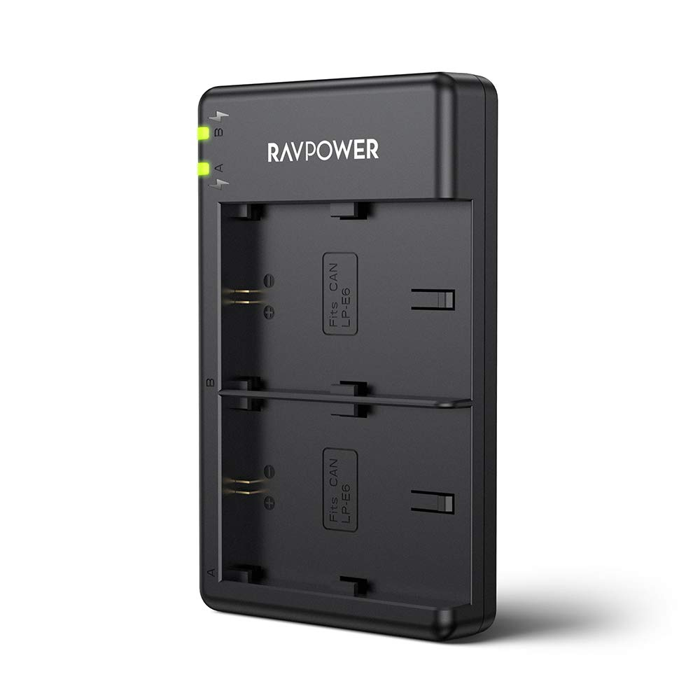 RAVPower Dual Slot Battery Charger for Canon LP-E6 LP-E6N Batteries, Compatible with Canon 5D Mark II III IV, 80D, 70D, 60D, 6D, EOS 5Ds, 5D2, 5D3, 5DSR, 5D4 Camera(Micro USB Port) by RAVPower