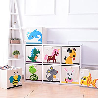 DODYMPS Foldable Animal Canvas Storage Toy Box/Bin/Cube/Chest/Basket/Organizer for Kids, 13 inch (Dinosaur): Home & Kitchen
