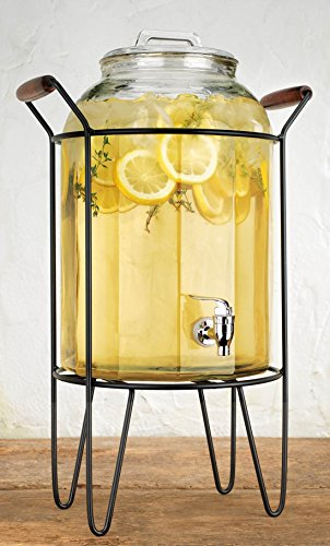 3 Gallon Metal - Retro Beverage Panel Drink Dispenser Durable Glass 3 Gallon with Spigot in Metal Caddy