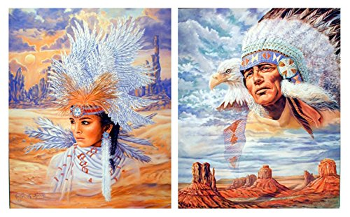 Native American Indian Maiden Headdress and Indian Chief Eagle Two Set 8x10 Wall Decor Art Print Posters
