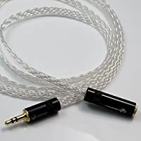 DIY 1/8 3.5mm Male to 1/8 3.5mm Female 8 Cores Flat Braid Silver Plated Stereo Audio Headphone Extension Cable