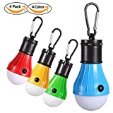 Zoojee Studio LED Camping Tent Lights Bulb-4 Pack Battery Power Portable Hanging Tent Light Lantern for Camping, Hiking, Backpacking, Fishing, Party, Hurricane, Storm, Outage