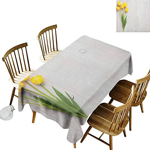 (DONEECKL Yellow Durable Tablecloth Washed Colorful Tulips on a Rustic White Wooden Yellow Board with Spring Theme Yellow White Lime Green W60 xL84)