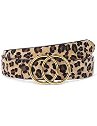 Women's Leopard Print Leather Belt for Jeans Dresses Fashion Waist Belt with Gold Double Ring Buckle