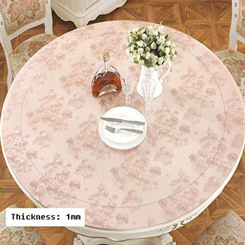 rose 110cm Duanguoyan Nappe- Nappe Ronde de Table Basse en Verre Souple de PVC Nappe imperméable et résistant à l'huile (Couleur   rose, Taille   110cm)