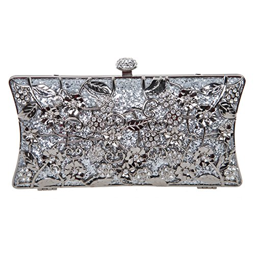 Wholesale Purses (Fawziya Floral Clutch Bags For Girls Handbags Wholesale Purses-Silver)