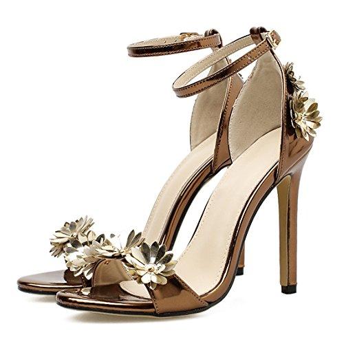 Mi Bronze Partie Mariage Haute Travail Bal De Soirée Chaussures Pompes Mesdames Cheville Nuptiale Femmes De Sangle Talon Taille Tx75HW4n
