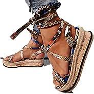 HIRIRI Womens Flatform Cork Espadrille Wedge Sandals Ankle Lace Up Shoes Wedge Heel Slingback Sandals