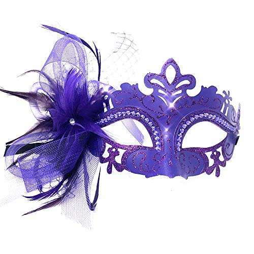 Storm Buy ] Lady/Women / Girls Costume Venetian Mask Feather Masquerade Mask Halloween Mardi Gras Cosplay Party Ball Prom Masque (Purple)
