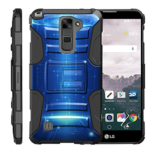 TurtleArmor | Compatible for LG Stylus 2 Case | LG G Stylo 2 Case [Hyper Shock] High Duty Proof Belt Clip Holster Kickstand Silicone Hard Combo Camo Unique Design - Blue Technology
