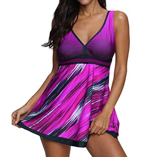 Swimsuit for Women Tummy Control, Women Plus Size Gradient Tankini Swimjupmsuit Swimsuit Beachwear Padded Swimwear ()