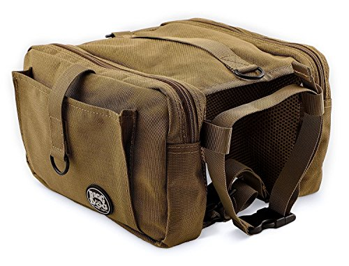 RIGG DOG Oxford Canvas Dog Saddle Bag Harness Backpack - Perfect Dog Hiking Pack for Treks, Camping and Hound Travel | Durable, Lightweight, Saddlebags for Medium and Large Dogs (Khaki)