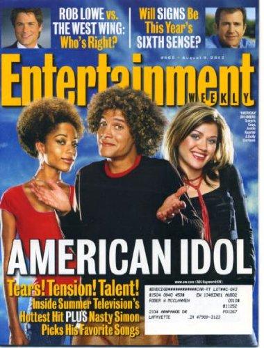 Entertainment Weekly August 9 2002 American Idol, Kelly Clarkson, Rob Lowe vs The West Wing, Mel Gibson in Signs, M. Night Shayamalan, Dana Carvey, John Mayer, Robert Rodriguez