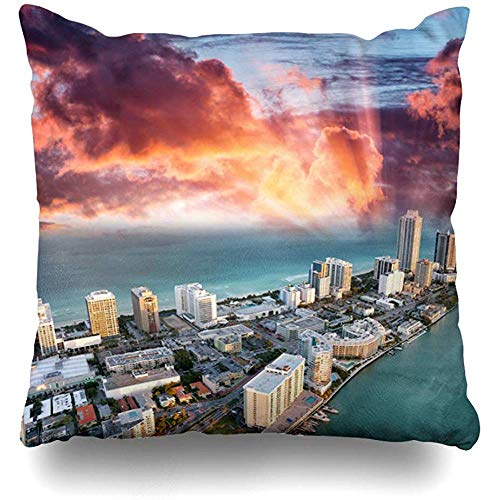 Throw Pillow Cover Cushion Case Square 18x18 Inch Miami Blue Aerial Helicopter View Beach Dusk Sky Florida Parks Above America American Bay Home Decor