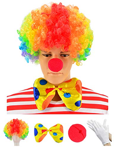 Bozo The Clown Wig (Clown Costume - Clown Wig + Clown Nose + Bow Tie + White Gloves Set of 4)