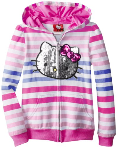 Hello Kitty Girls 7-16 Striped Hoodie with Sequin Applique
