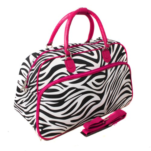 World Traveler 21-Inch Carry-On Shoulder Tote Duffel Bag, Pink Trim Zebra, One Size