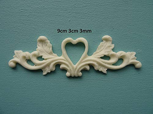 Decorative Heart Scroll Center Applique onlay Furniture Moulding O25A ()