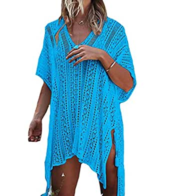 Bestme Women's Crochet Bikini Swimsuit Swimwear Bathing Suit Cover Up Tunic Tops Beachwear (Lake Blue)