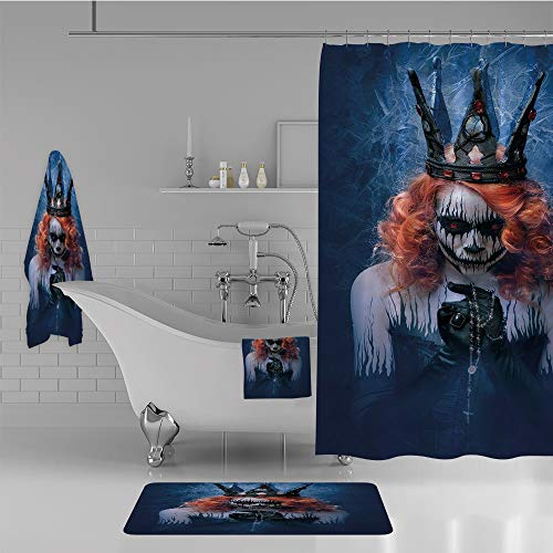 iPrint Bathroom 4 Piece Set Shower Curtain Floor mat Bath Towel 3D Print,Art Halloween Evil Face Bizarre Make Up Zombie,Fashion Personality Customization adds Color to Your Bathroom. -